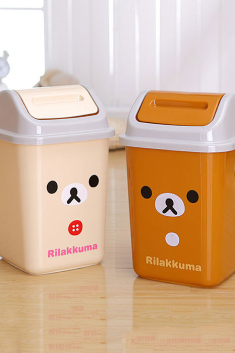 【创意卡通摇盖式垃圾桶】-家居-百货_家务/地板清洁