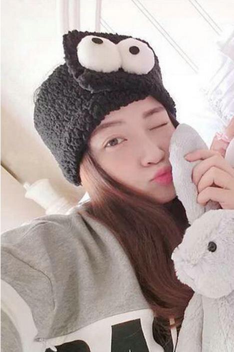 韩国正品 可爱卖萌立体大眼睛发带 韩版羊羔毛绒洗脸束发带发饰