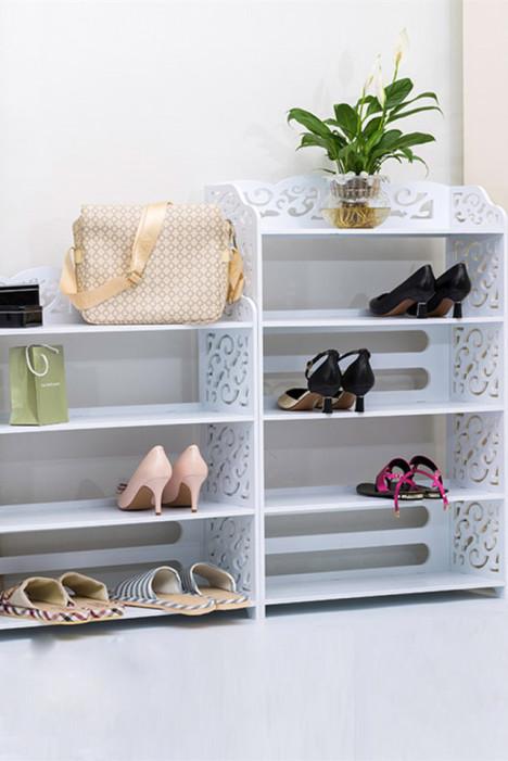 【简易欧式玄关鞋架 组装多层收纳防尘置物架子客厅