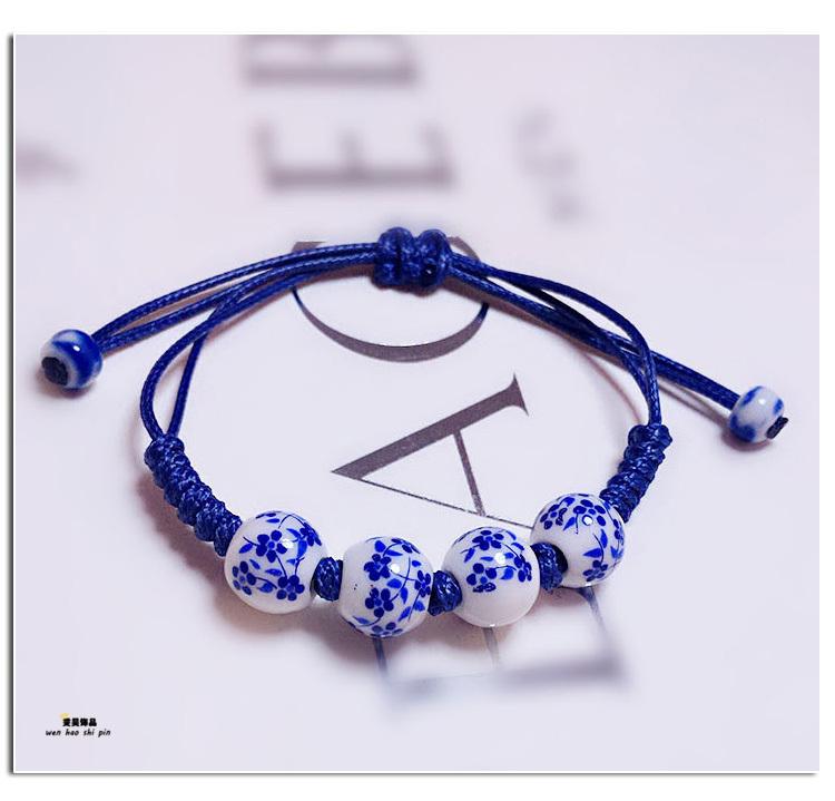 手工手绘陶瓷首饰手链 中国民族古风 青花瓷手镯梅花蜡绳手链