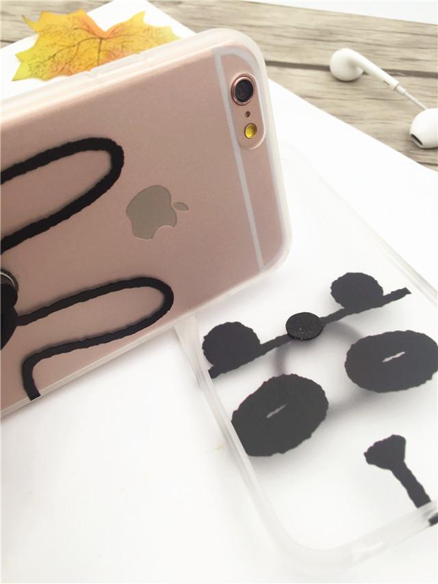 素描小动物iphone6s手机壳苹果6plus指环扣支架壳