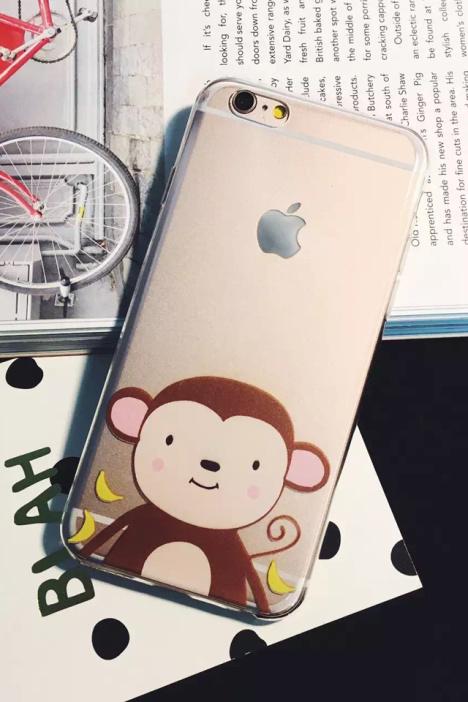 可爱猴子香蕉苹果6s超薄手机壳 iphone6p透明卡通软壳