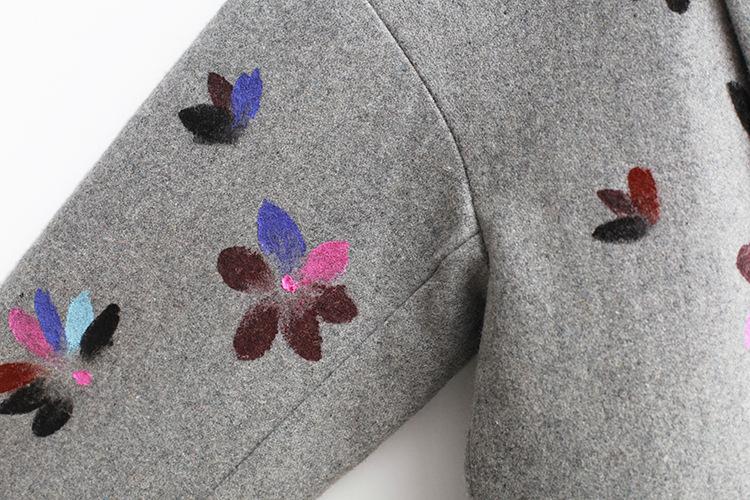 「v特色个性风」手绘西装领拼接加长款毛呢子外套