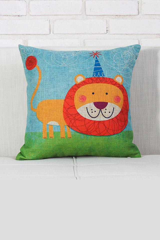 手绘斑马和狮子抱枕 呆萌卡通 靠垫 沙发垫