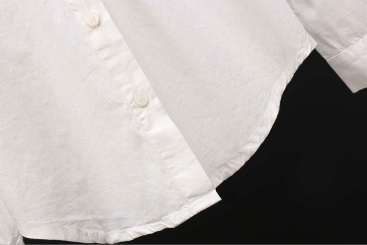 新款日系翻领绣花彩色云朵图案长袖白衬衫女