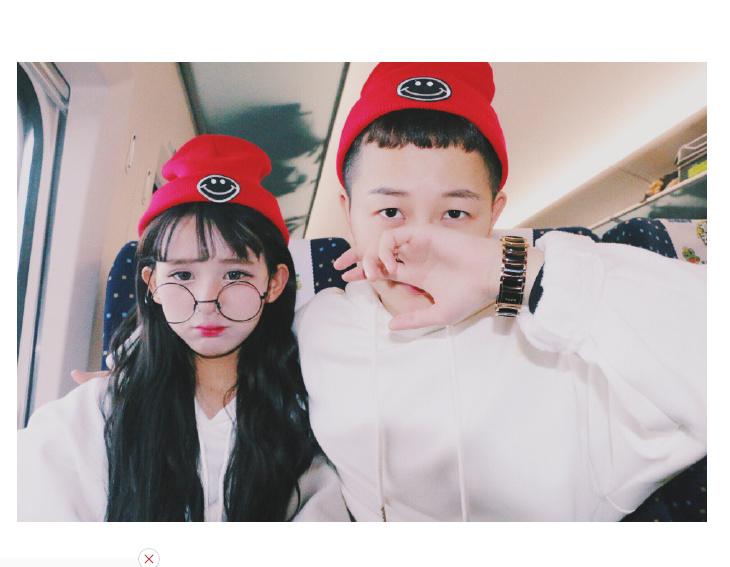 【韩国王逗逗柯欧巴同款情侣帽可爱笑脸红色针织毛线