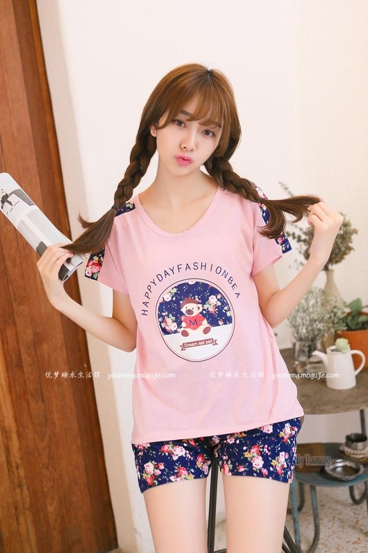 韩版新品 女生睡衣套装可爱甜美家居服休闲两件套