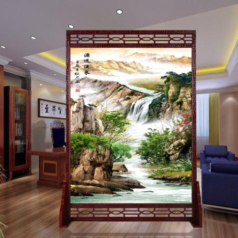 【卧室屏风隔断时尚中式山水画客厅座屏风水实木布艺