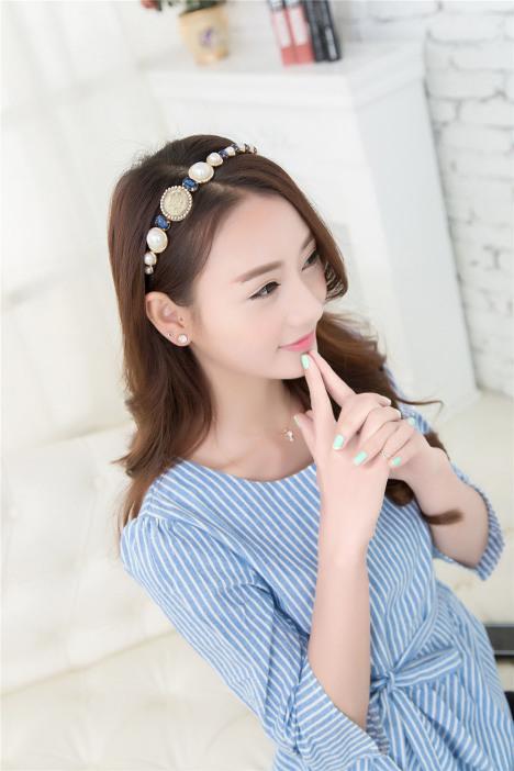 【韩国欧美风复古超美女王头像珍珠宝石发箍珍珠头箍