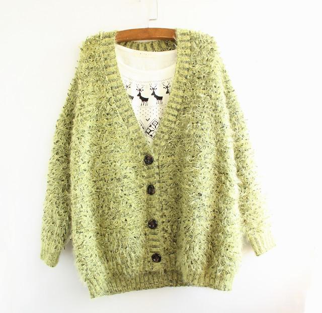 商品描述 春天的绿色~圈圈针织法~宽松开衫~ 产品参数 细节:其他 袖