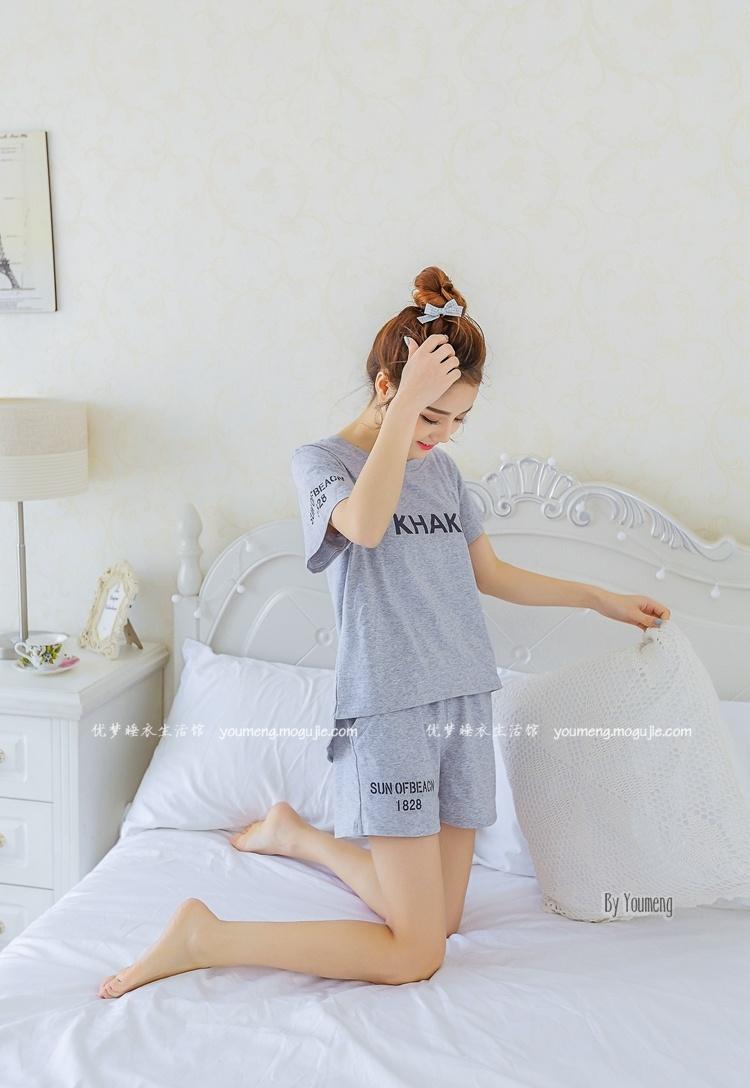 夏季新品韩版纯棉女生睡衣套装可爱甜美