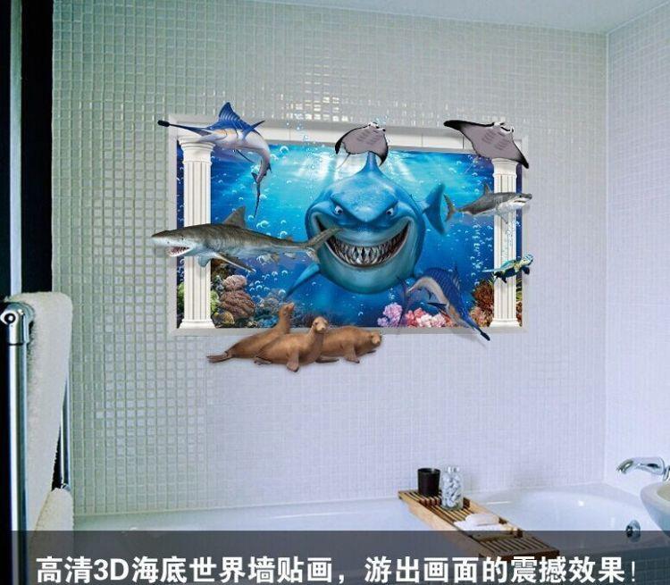 【海底世界鲨鱼 个性创意贴画】-家居-贴饰