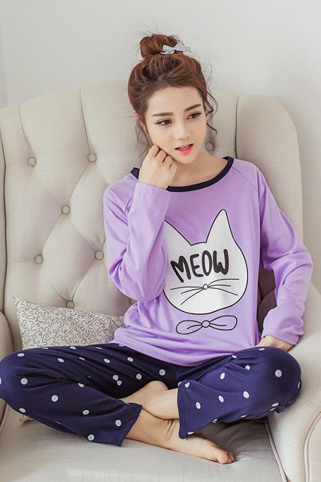 韩国初秋紫色猫睡衣套装