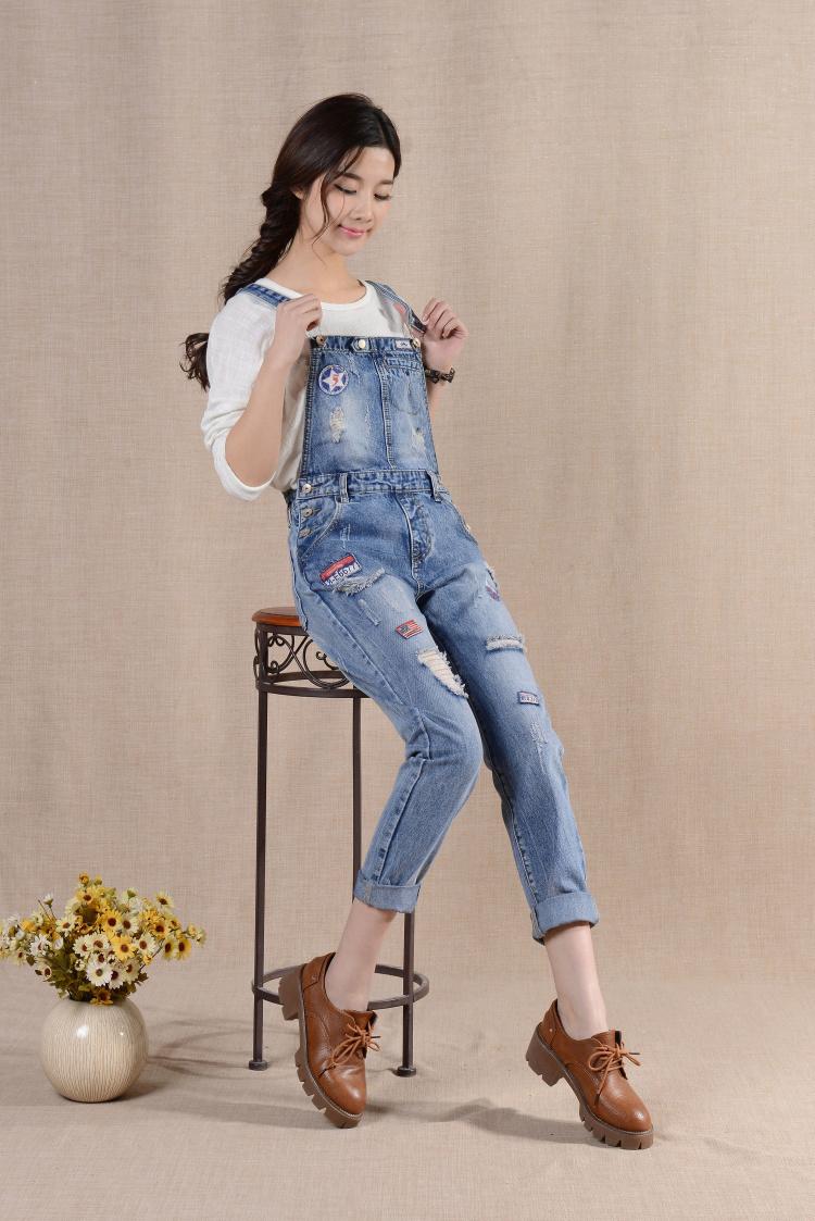 2016春装新款韩版吊带小脚牛仔背带裤女学生休闲长裤连体裤