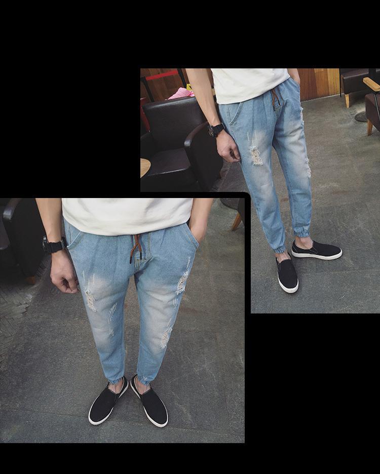 【【服夸】夏季新款哈伦裤吊裆牛仔裤】-男装-牛仔裤