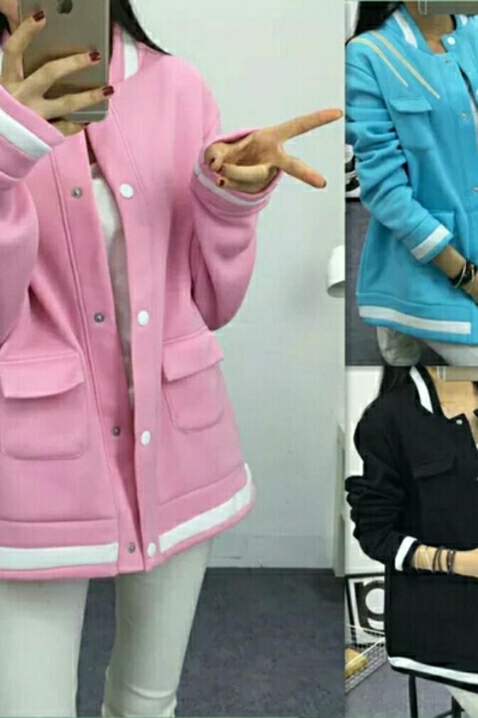 马卡龙嫩粉色甜美可爱学生装初中生外套班服韩版卫衣加绒开衫外套