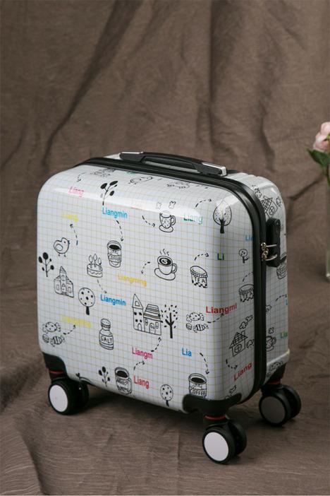 亮鸣简笔画拉杆箱飞机轮拉链密码行李箱20 24寸旅行