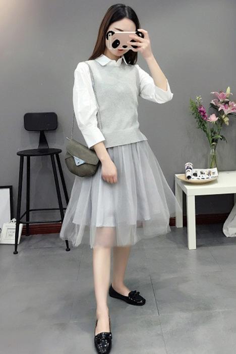 【针织背心 衬衣网纱裙两件套】-衣服-套装/学生校服