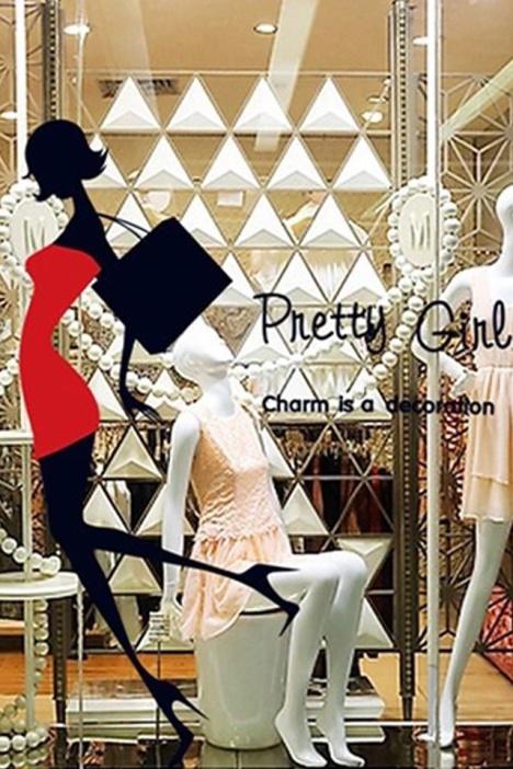 性感美女超短裙高跟鞋墙贴 商场服装女鞋专柜橱窗玻璃贴