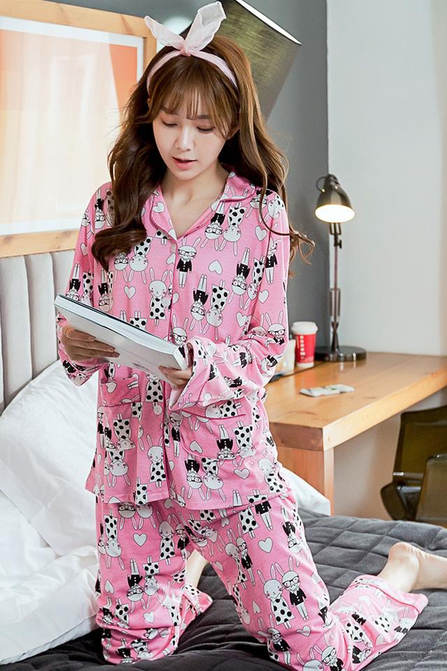 韩国初秋可爱情侣兔睡衣套装