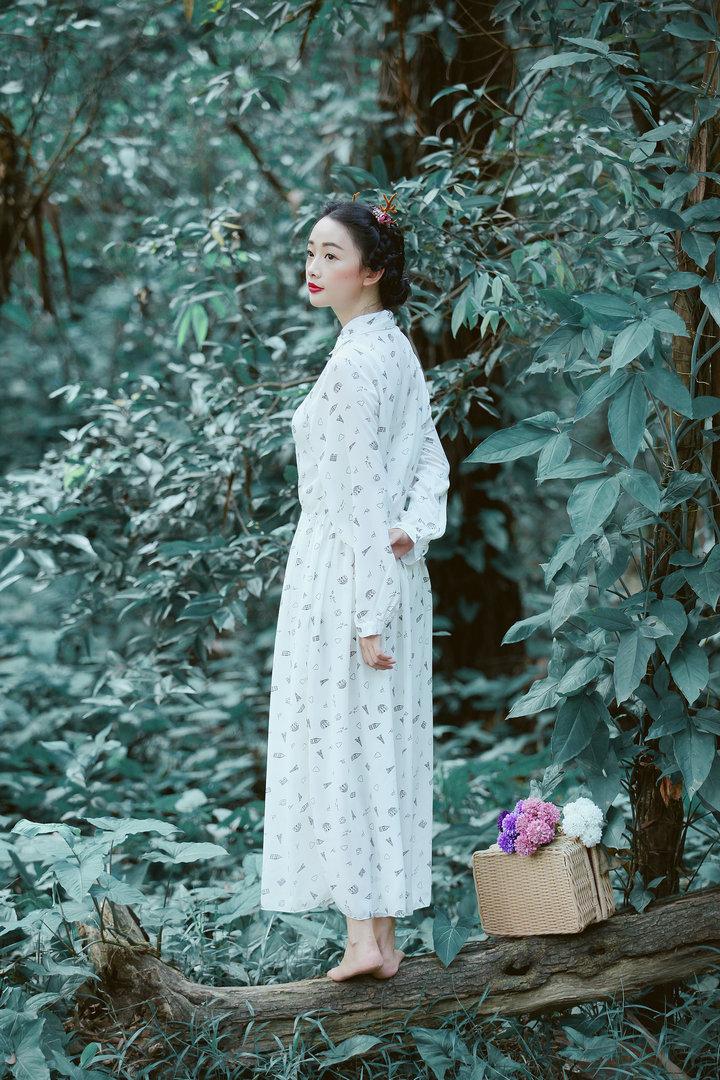 【新款长袖连衣裙手绘森女裙子】-连衣裙