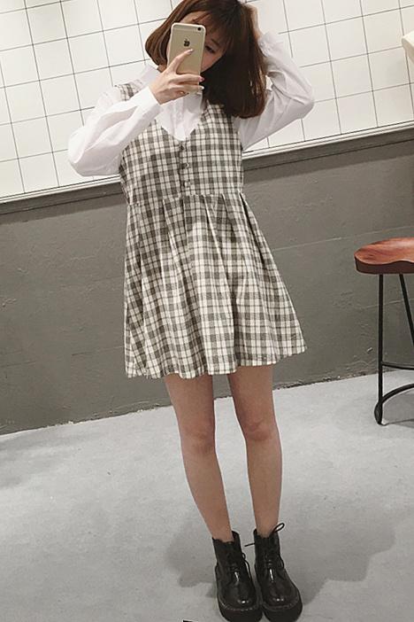 【实拍】文艺复古森系格子连衣裙