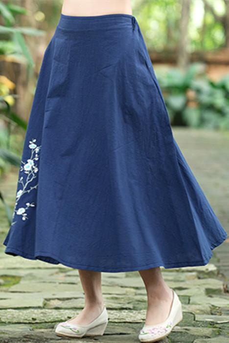 半身长裙,短裙,裙子,复古,民族风,棉麻,刺绣