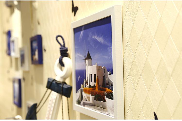 背景墙创意组合美式地中海客厅钟表心形欧式照片墙