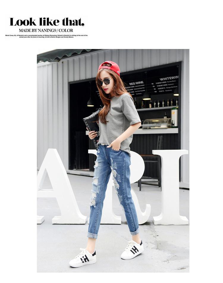 【夏季破洞牛仔裤女】-衣服-牛仔裤