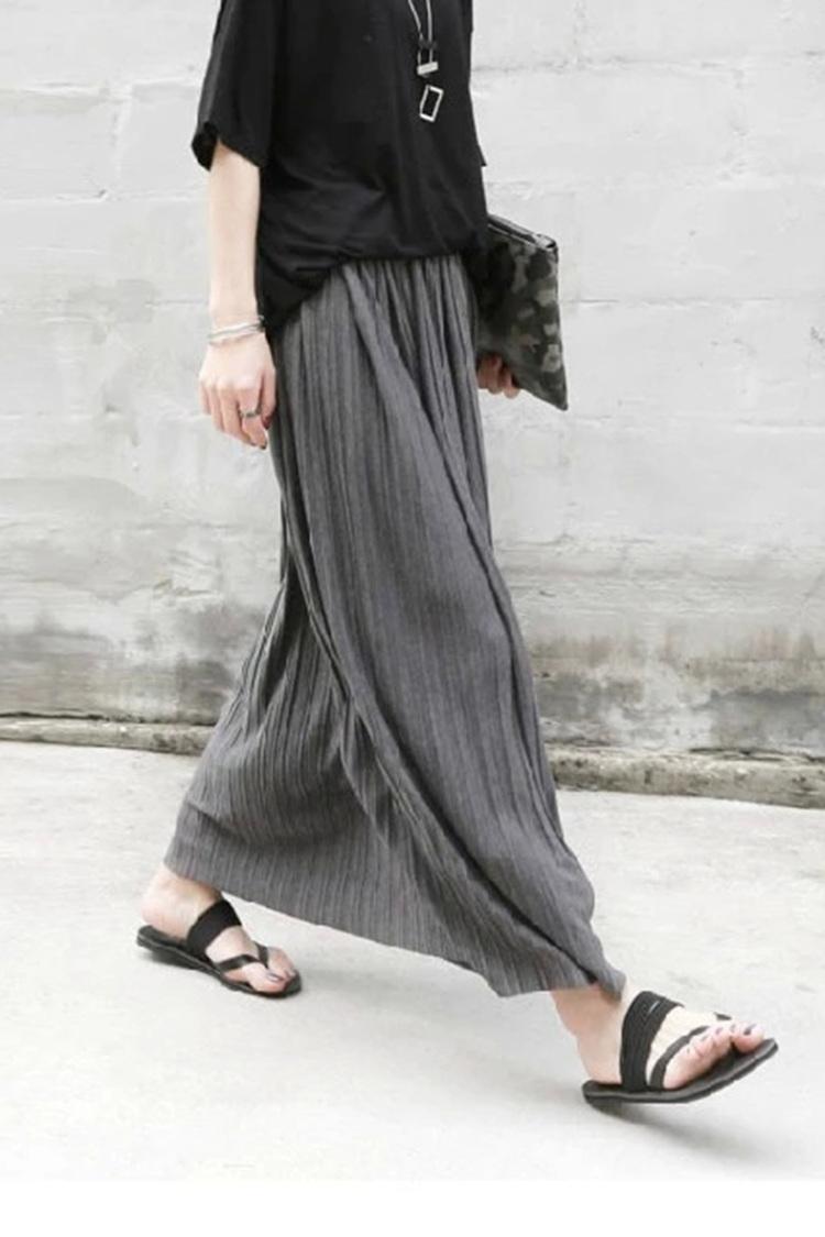 【苏怡】灰色百褶松紧腰棉质半身长裙纯色半身裙