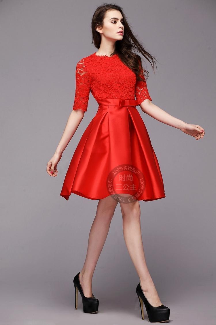 【大红色蕾丝新娘裙蓬蓬裙敬酒服】-连衣裙