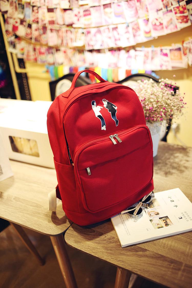 【新款简约时尚搞怪印花帆布双肩包】-包包-箱包皮具