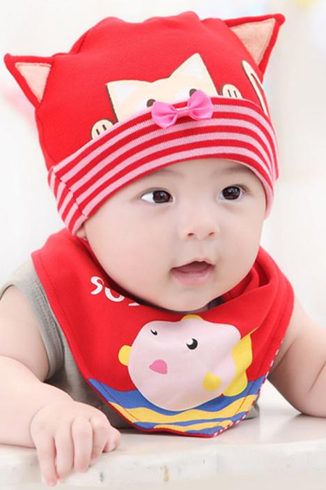 春秋冬季新款韩国潮宝宝帽子婴儿帽子小猫咪儿童套头帽三角巾套装