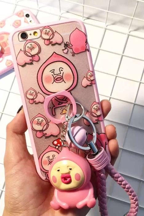 日本可爱屁桃君手机壳iphone6手机壳6指环软支架挂件