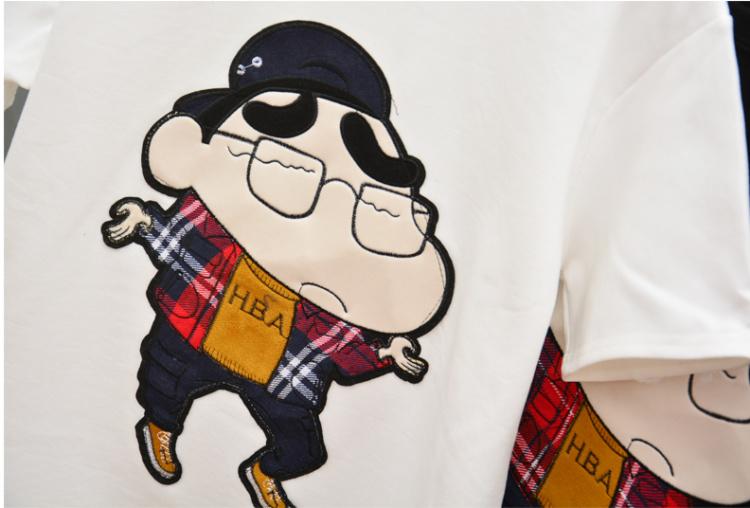 卡通可爱蜡笔小新图案百搭休闲短袖t恤女