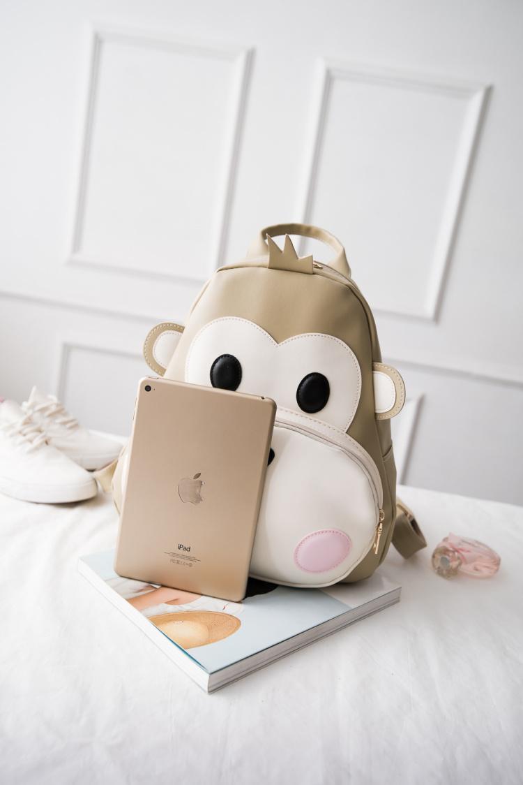 【呆萌可爱小猴子个性卡通皮质双肩包】-包包-箱包