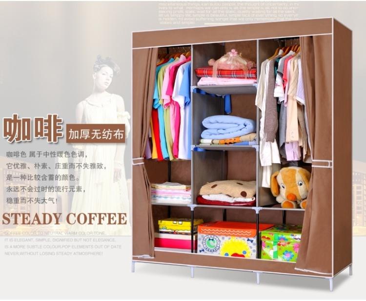 【无纺布衣柜简易折叠布衣柜组合】-家居-百货