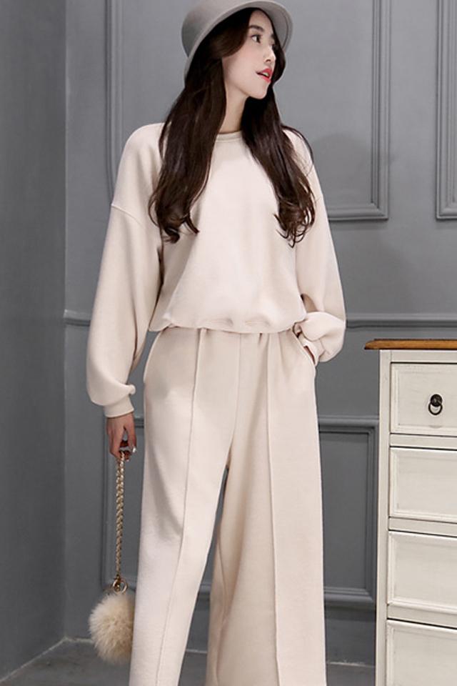春季新款 针织衫搭配阔腿裤宽松休闲时尚套装