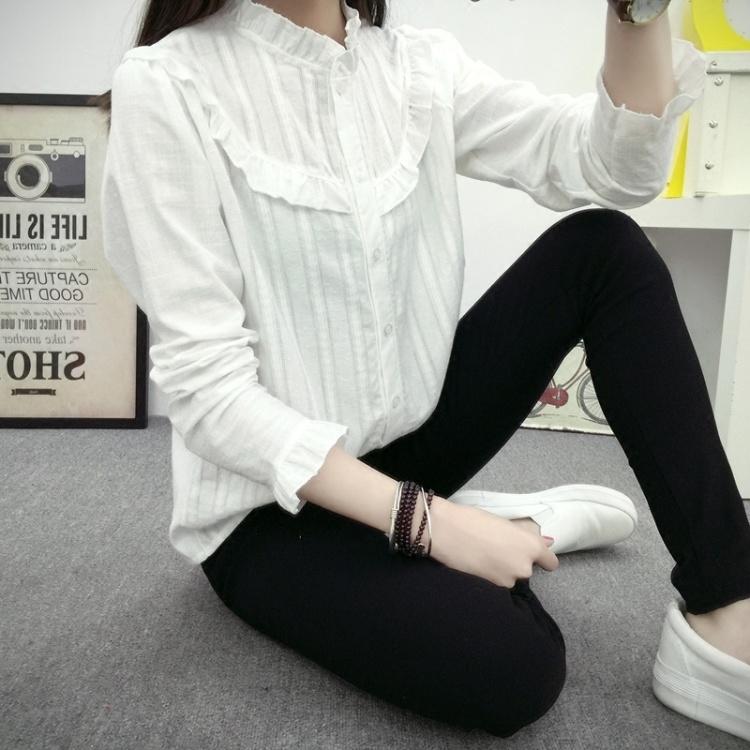 【日系小清新花边娃娃领女衬衣】-衣服-服饰鞋包
