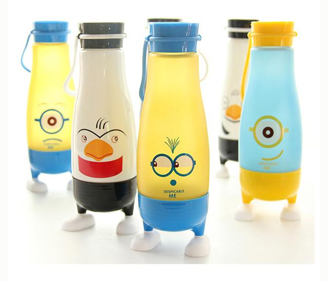 小黄人小企鹅水杯带脚学生可爱玻璃杯 防摔防烫杯子创意随手杯