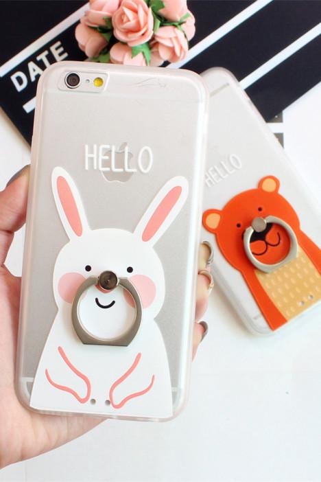 【iphone6s/6p可爱卡通小动物指环支架手机壳】-配饰
