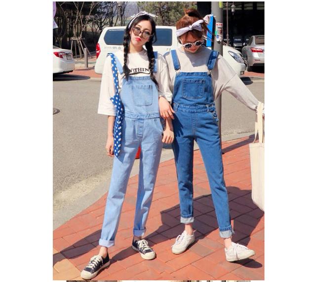 韩版学院风学生闺蜜装水洗可爱大口袋牛仔背带裤连体裤