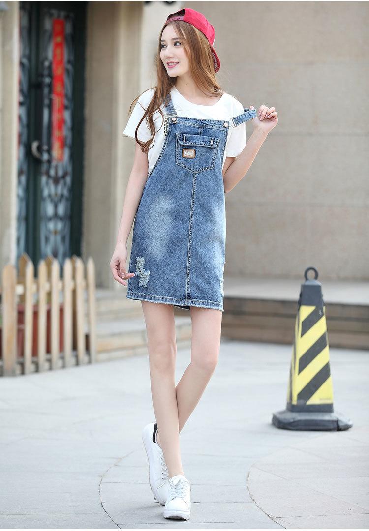 新款韩版休闲牛仔背带裙