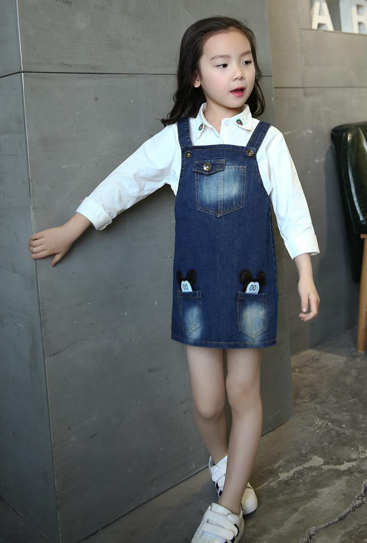 【女童米奇牛仔背带裙子】-母婴-连衣裙
