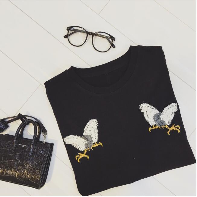 小动物刺绣黑色t恤】-衣服-t恤