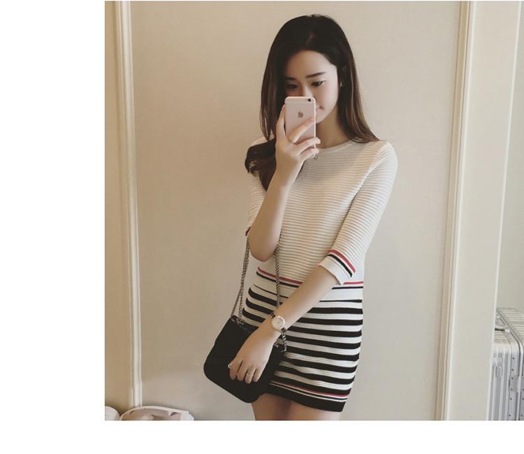 条纹针织衫 包臀短裙 两件套