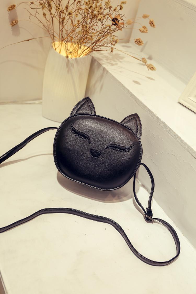 韩版卡通可爱小猫头单肩斜挎小包