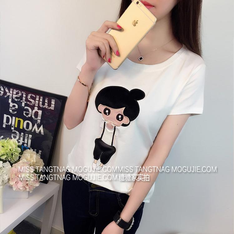 韩版学院风可爱丸子头小女孩贴布短袖