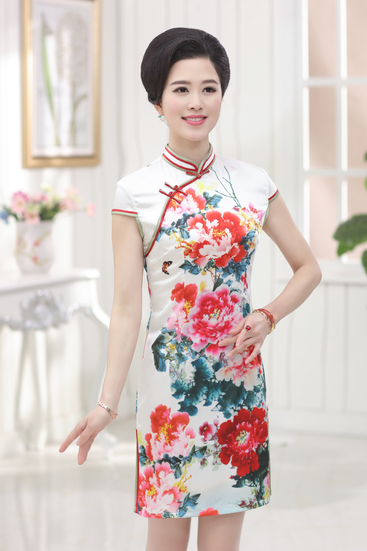 2016新款女士真丝高档丝绸旗袍裙 复古改良时尚夏装旗袍