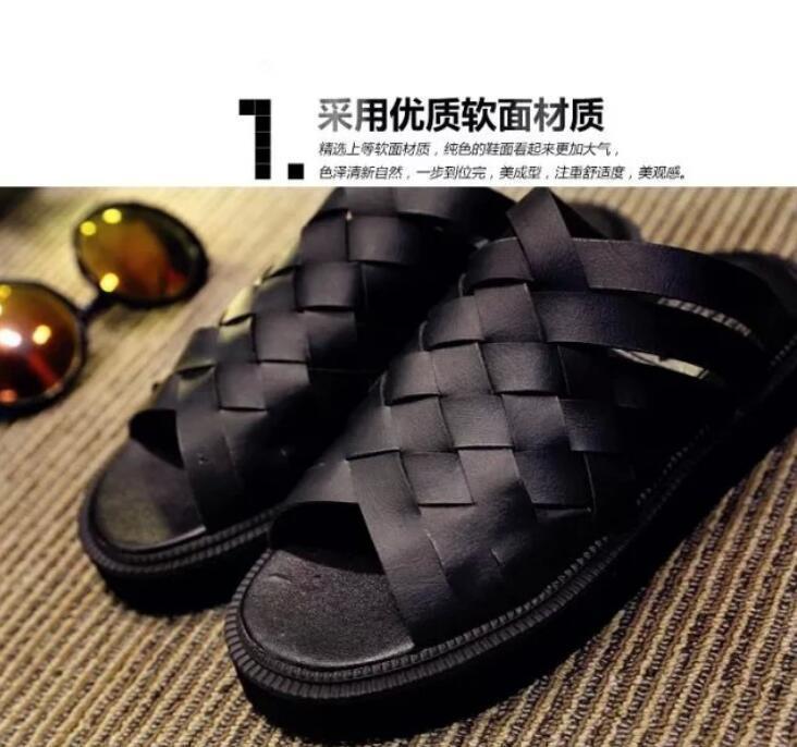 韩版学院风手工编织拖鞋松糕厚底休闲一字型凉拖鞋